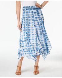 Style & Co. Petite Cotton Tie-dye Handkerchief-hem Skirt - Blue