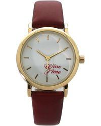 Olivia Pratt Wine Time Leather Strap Watch - Red