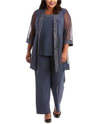 R & M Richards Plus Size Jacket, Shell & Pants - Multicolor