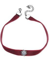 ABS By Allen Schwartz - Gold-tone Black Velvet Crystal Choker Necklace - Lyst