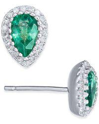 Macy's - Emerald (5/8 Ct. T.w.) & Diamond (1/8 Ct. T.w.) Stud Earrings In 14k White Gold - Lyst