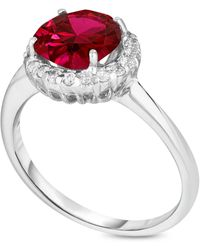 Macy's Simulated Birthstone Round Cubic Zirconia Halo Solitaire Ring In Fine Silver Plate - Red
