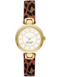 Kate Spade Rainey Park Luggage/leopard-Print Reversible Watch - Brown