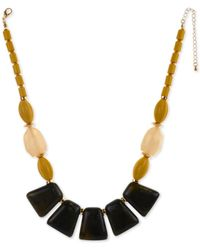 """Style & Co. Gold-tone Beaded Statement Necklace, 21""""+ 3"""" Extender, Created For Macy's - Yellow"""