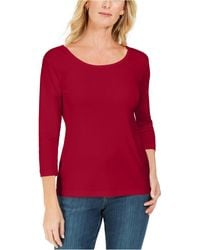 Karen Scott Petite Cotton Scoop-neck Top, Created For Macy's - Red