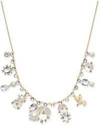"Kate Spade - Gold-tone Crystal, Imitation Pearl, Flower & Bird Collar Necklace, 16"" + 3"" Extender - Lyst"