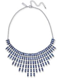 """INC International Concepts - Inc Silver-tone Crystal & Baguette-stone Statement Necklace, 17"""" + 3"""" Extender, Created For Macy's - Lyst"""
