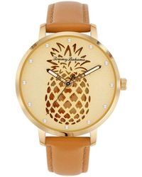 Tommy Bahama Shaken Crystal Pineapple Brown Leather Strap Watch, 38mm