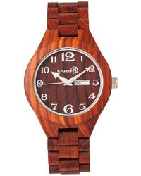Earth Wood - Sapwood Wood Bracelet Watch W/date Red 41mm - Lyst