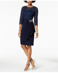 Alex Evenings - Embellished Lace-contrast Dress - Lyst