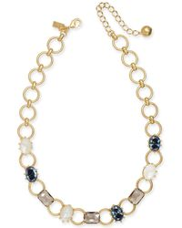 """Kate Spade - Gold-tone Stone & Imitation Pearl Collar Necklace, 16"""" + 3"""" Extender - Lyst"""