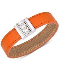 Majorica - Silver-tone Imitation Pearl Reversible Leather Bracelet - Lyst