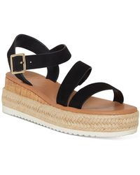 INC International Concepts Siona Asymmetrical Platform Wedge Sandals, Created For Macy's - Black