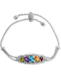 Effy Collection - Multi-gemstone Bolo Bracelet (4-7/8 Ct. T.w.) In Sterling Silver & 18k Gold - Lyst