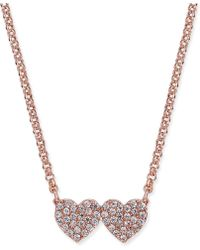 Kate Spade - Pavé Double-heart Pendant Necklace - Lyst