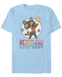 Fifth Sun Karaoke Cat Short Sleeve Crew T-shirt - Blue