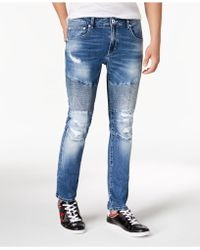 INC International Concepts Destructed Moto Skinny Jeans, Created For Macy's - Blue