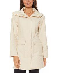 Jones New York Hooded Snap-collar Water-resistant Raincoat - Natural