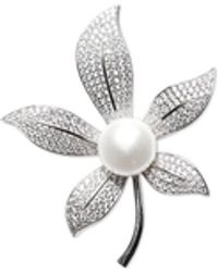 Macy's Cultured Freshwater Pearl (10mm) & Cubic Zirconia Leaf Pin In Sterling Silver - Metallic