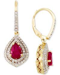 Rare Featuring Gemfields - Certified Ruby (3/10 Ct. T.w.) And Diamond (3/8 Ct. T.w.) Drop Earrings In 14k Gold - Lyst