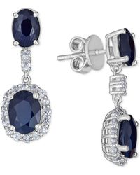 Macy's Sapphire (5 Ct. T.w.) And White Sapphire (3 Ct. T.w.) Drop Earring In Sterling Silver - Multicolour