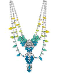 "Steve Madden Silver-tone Crystal & Stone Flower 19"" Statement Necklace - Blue"