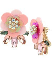 Betsey Johnson Flower Stone Cluster Front Back Earrings - Pink