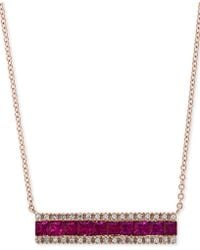 """Effy Collection - Effy® Ruby (1-1/4 Ct. T.w.) & Diamond (1/8 Ct. T.w.) Horizontal Bar 18"""" Pendant Necklace In 14k Rose Gold - Lyst"""