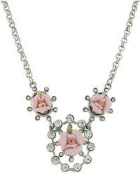"2028 - Silver-tone Crystal And Pink Porcelain Rose Necklace 16"" Adjustable - Lyst"