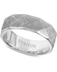 Triton - Faceted Pyramid Wedding Band In White Tungsten - Lyst