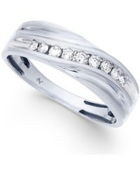 Macy's - Men's Diamond Swirl Band (1/4 Ct. T.w.) In 10k White Gold - Lyst