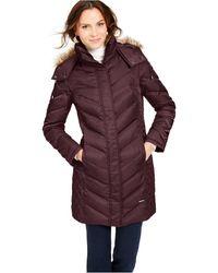 Kenneth Cole Petite Faux-fur-trim Down Hooded Puffer Coat - Black