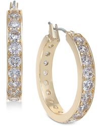 Charter Club Gold-tone Crystal Small Hoop Earrings S, Created For Macy's - Metallic