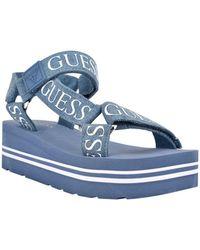 Guess Avin Strappy Platform Sandals - Blue