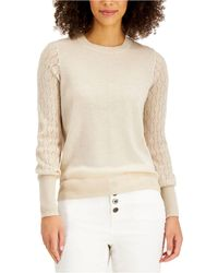 Style & Co. Mixed-stitch Pointelle Sweater, Created For Macy's - Natural