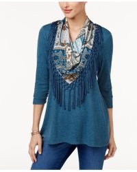 Style & Co. - Petite Top With Printed Fringe Scarf - Lyst