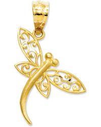 Macy's | 14k Gold Charm, Satin Dragonfly Charm | Lyst