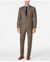 Michael Kors - Classic/regular Fit Natural Stretch Brown Sharkskin Wool Suit - Lyst