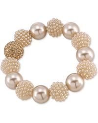 Carolee - Gold-tone Brown Imitation Pearl Large Bead Bangle Bracelet - Lyst