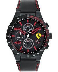 Ferrari - Men's Chronograph Speciale Evo Chrono Black Leather Strap Watch 45mm 0830363 - Lyst