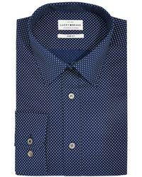 Lucky Brand Slim-fit Moisture-wicking Dot-print Dress Shirt - Blue