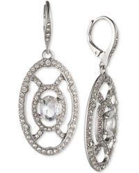 Jenny Packham - Silver-tone Crystal Openwork Drop Earrings - Lyst