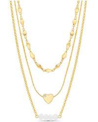 Kensie Rhinestone Heart And Beaded Bar Station Triple Layered Chain Necklace - Metallic