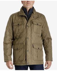 London Fog - Men's Quilted Jacket With Zip Inset - Lyst