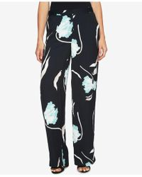 1.STATE - Printed Flat-front Wide-leg Soft Trousers - Lyst