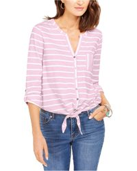 Style & Co. Printed Tie-front Top, Created For Macy's - Pink