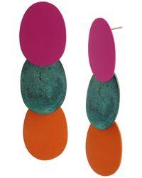 Robert Lee Morris Patina Disc Layered Drop Earrings - Multicolor