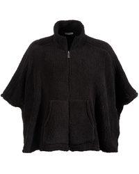 Calvin Klein Faux-sherpa Poncho - Black