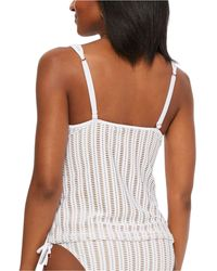 Bar Iii Crochet Plunge Tankini Top, Created For Macy's - White