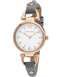 Laura Ashley Ladies' Logoed White Dial With Analog Display Twisted Rose Gold Band Round Watch - Gray